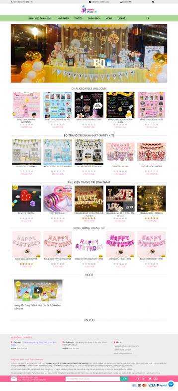 Thiết kế website Phụ kiện sinh nhật WM 01