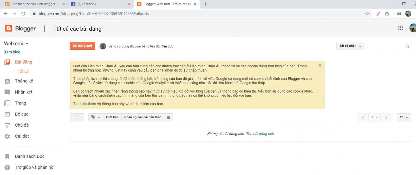 Các thao tác cấu hình bloger 5