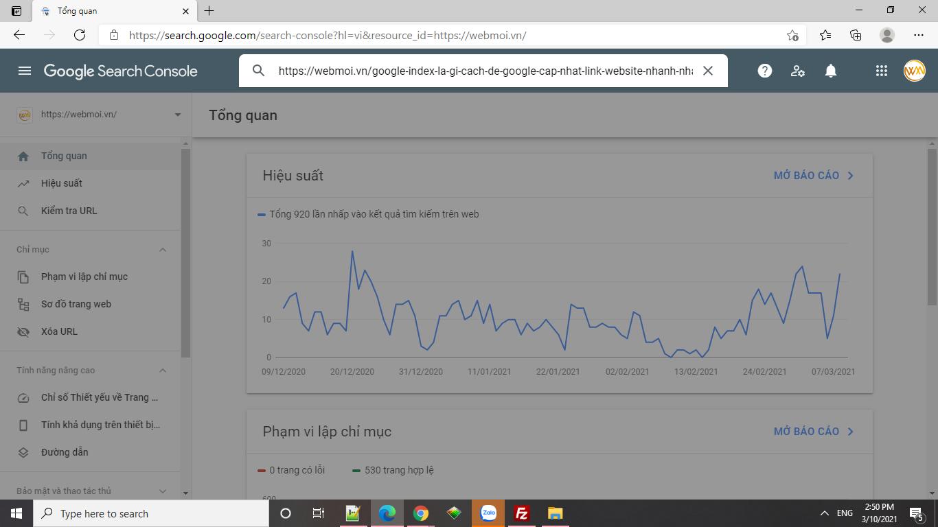 Dùng công cụ để khai báo google index
