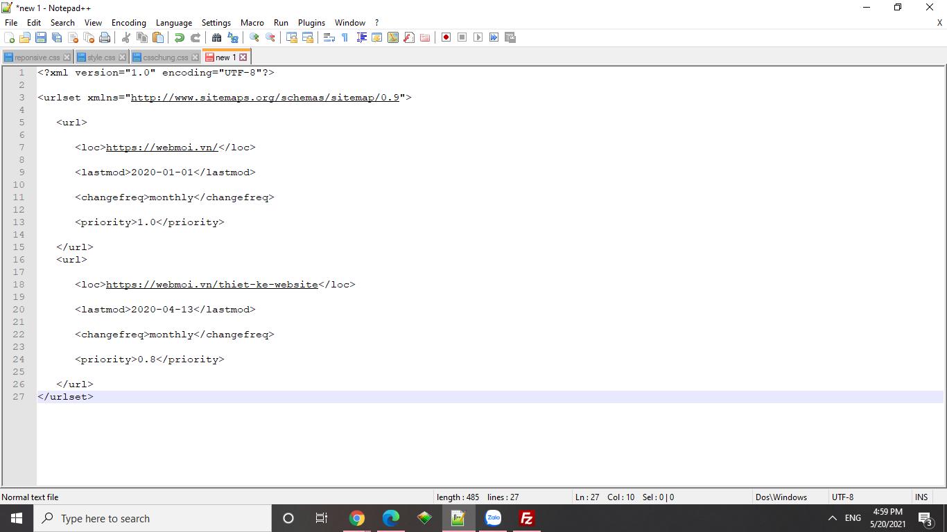 Hướng dẫn tạo cấu trúc file sitemap cho website
