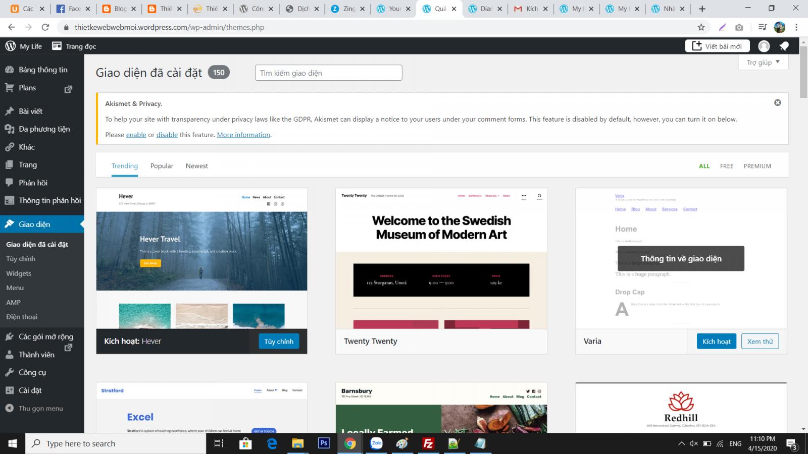 Tạo blog với wordpress.com - Các thao tác cấu hình Wordpress