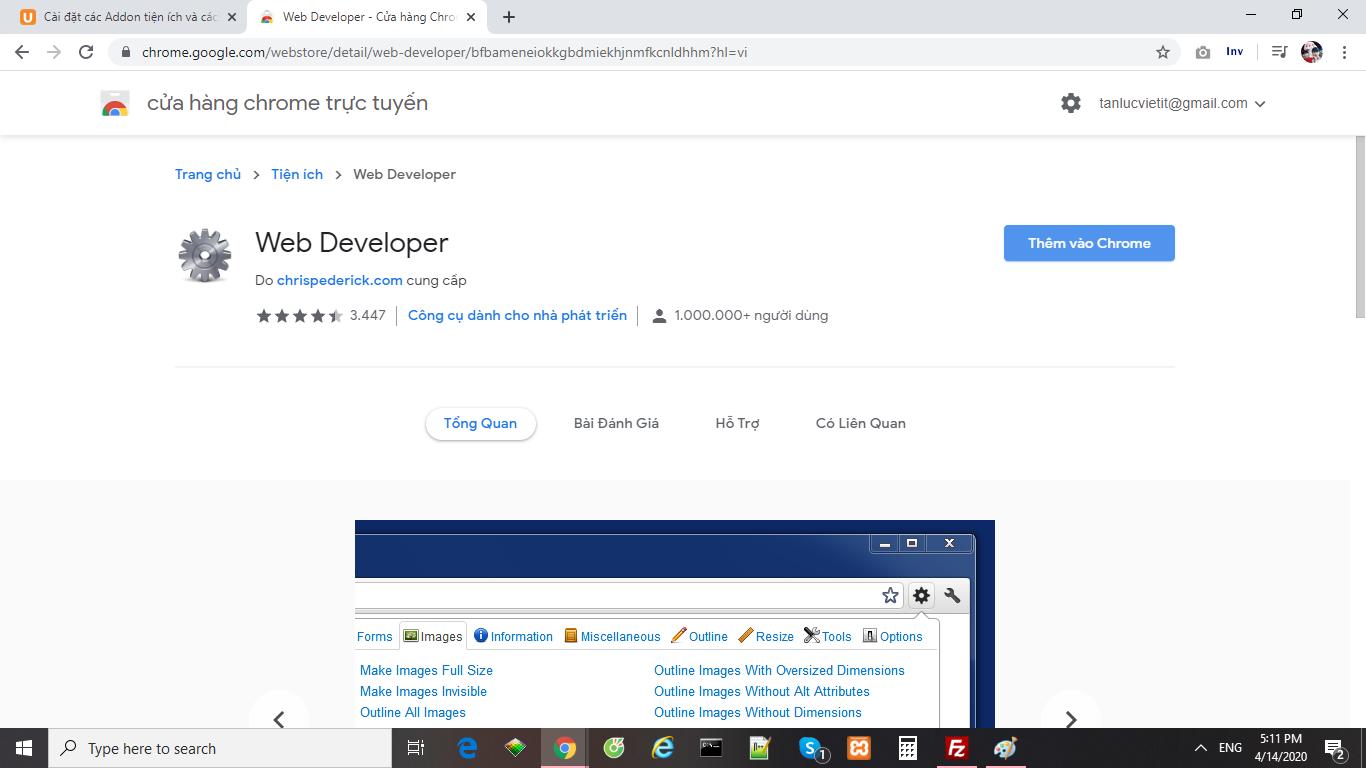 Cài đặt web developer 4