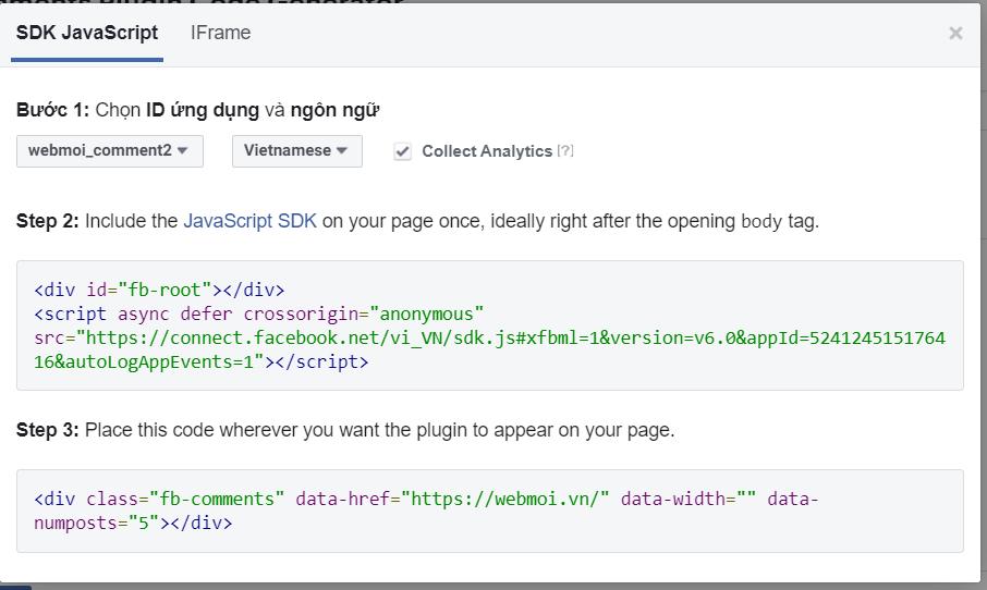 Lúc này, Facebook cung cấp cho Nhà bán hàng đoạn mã tương ứng.