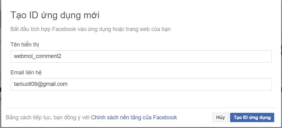Tạo ID ứng dụng Quản lý bình luận facebook trên website